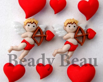 Novelty valentine cupids arrow heart mixed buttons with shank back for crafts & scrapbooking