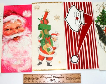 Vintage USED Christmas Cards, Jolly Santa Claus Faces Fun Funky Glitter, Scrap Booking Crafts Lot of 5 Christmas Cards