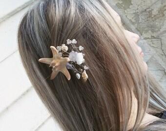 Starfish, mermaid hair clip, Bridal hair pins, Fascinators, Starfish Hair accessories, seashell hair pins, Beach wedding, Pins for hair.