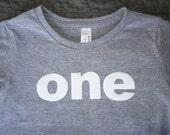 12-18m ONE Birthday Shirt Lowercase Heathered Grey Toddler Short Sleeve Tri Blend Tee Shirt:  Ready to Ship!
