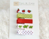Set of 5 Fully Lined MINI Non Slip Hair Clips- Baby Barrettes-Polka Dot, Apples, Turtles Hair Clips