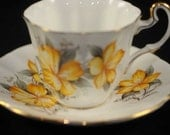 Cup and Saucer, Collectible Ridgway Bone China Yellow Flowered Set
