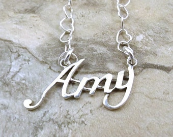 Sterling Silver Name Necklace -Amy - on Sterling Silver Heart Chain in Length of Choice -0837