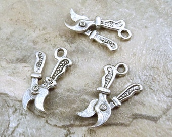 Three (3) Pewter Gardening/Pruning Shears Charms - 0968