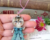 cat pendant, cat necklace, wooden pendant, princess pendant, cat accessories, cat jewellery, cat gifts, cat princess, kawaii jewellery