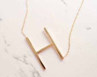 ONE DAY SALE large initial necklace // oversized letter // alphabet // personalized // sideways initial / oversize letter / bridesmaids /