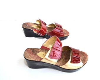 Red Sandals Red Wedge Sandals Chunky Heel Shoes Platform Sandals Platform Shoes Red and Gold Sandals Size 7.5