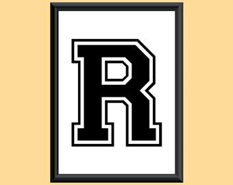 Typography Giclee Print Monogram Initial Wall Art Varsity Letter R