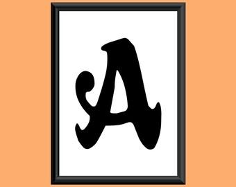 Typography DIGITAL PRINT Monogram Initial Wall Art Sixties Letter A 5x7