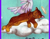 On Cloud 9 ~ Angel Wing Cat Fabric by Michael Mill  Retired Out of Print FQ