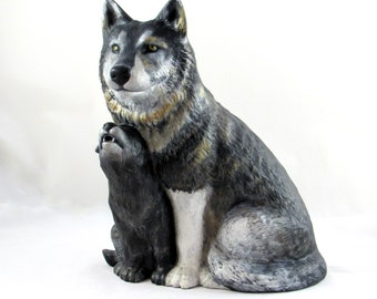 Ceramic Wolf with Cub - 12 inches - hand painted, decor