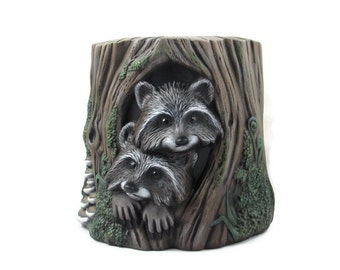 Ceramic Raccoon Planter, hand painted - 9.5 inches, indoor or outdoor, lawn and garden