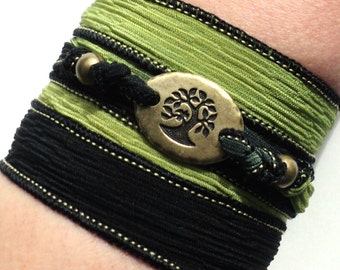 Tree of Life Silk Wrap Bracelet Yoga Jewelry With Meaning Yogi Engraved Boho Earthy Olive Green Meditation Zen Yogi Gift For Her or Him