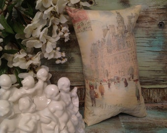 Paris Market of 1902 Vintage Print on 12 x 7.5 Pillow