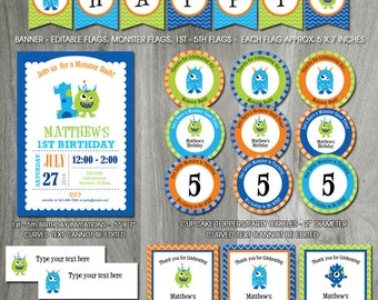 Monster Birthday Party Pack, Self Editable, INSTANT DOWNLOAD, Printable Template, Monster Bash, PDF Files, Boy Birthday, Decorations