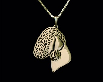 Bedlington Terrier - Gold pendant and necklace.