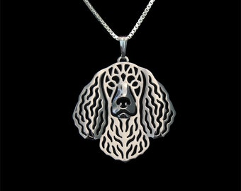 American Water Spaniel jewelry - sterling silver pendant and necklace.