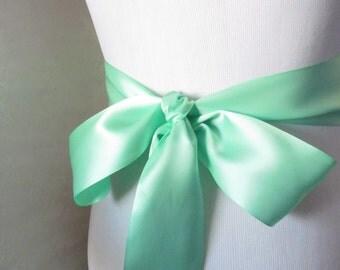 Mint Green Double Face Sash  Ribbon /  Ribbon Sash / 12ft sash / 9 ft sash / 6ft sash