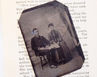 bibliophiles – tintype photograph of couple reading a book, interesting backdrop, antique photo, mixed media art supply