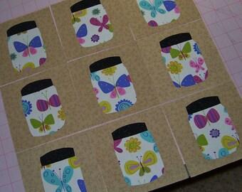Set of 9 Butterflies in a Jar Applique Quilt Blocks