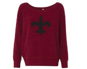 Black and Red Fluer De Lis - Fleece Slouchy Wideneck Sweatshirt