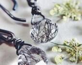 Rutilated quartz crystal sterling silver earrings