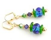 Multicolor Beaded Lampwork Dangle Earrings, Drop Earrings, Crystal Earrings, Women's Jewelry, Gifts, Career Wear