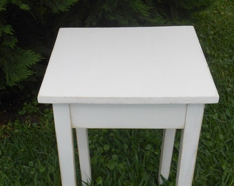 Handmade White Distressed End Table-Farmhouse End Table-Cottage End Table-Painted Wood End Table-Accent Table-Nightstand