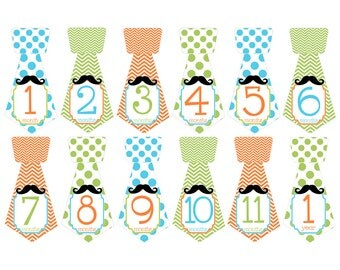 Set of 12 Tie Shape Monthly Milestones Stickers with Mustache in Aqua, Lime and Orange Keepsakes for Baby Boys T033