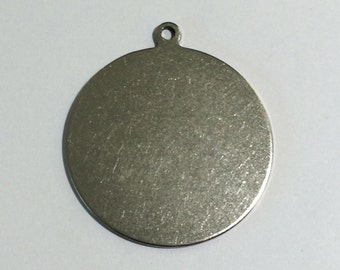 3 Round Brass Pendant, Antique Silver, Round Charm, Disc, 32mm