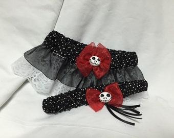 Custom polka dot Jack Skellington Keepsake and toss wedding garter