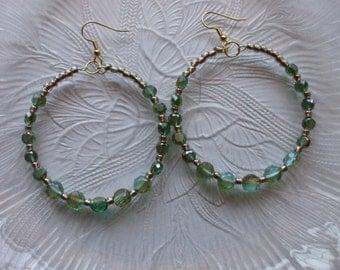 Bead Earrings, Hoop Earrings,Smokey Blue, Green and Gold Czech Earrings