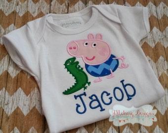 Peppa George Birthday Custom Tee Shirt - Customizable -  Infant to Youth 185