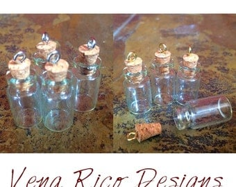 Tiny Glass Bottle & Cork - Set of 4, Ready to Fill and Wear