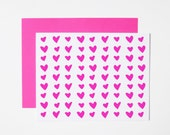 Hearts Card- Love Note- Fuchsia