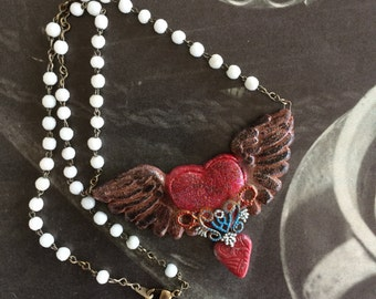 Little Vintage Shop Flying Heart Necklace on Repurposed Rosary