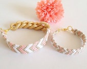 Special order for Angie Mommy and me Peach, white, and gold chevron patterned friendship bracelet