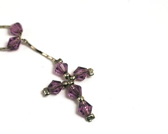 Cross Necklace  |  Beaded Crucifix  |  Lavender Purple Beads  |  Silver Toned Chain  |  Christian, Catholic Jewelry