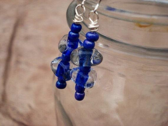 Lampwork Glass Earrings, Cobalt Blue Earrings, Dangle Earrings, Drop Earrings, Statement Earrings, Beaded Dangle Earrings, Boho Earrings
