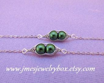 Two peas in a pod best friend bracelet set - Dark green