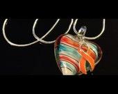 Orange Ribbon Necklace - Glass Heart Charm - Multiple Sclerosis Awareness / Leukemia Survivor - Kidney Cancer / Lupus Awareness
