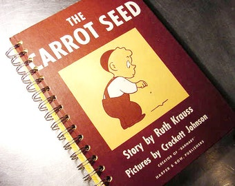 JOURNAL CARROT SEED Notebook Vintage Book Recycled Upcycled