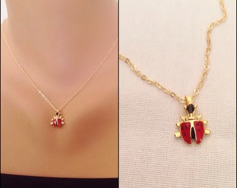 Gold Plated Ladybird Necklace, Kids Necklace,  Ladybug Charm Pendant, Kids Jewelry, Toddler Jewelry, Baby Girl, Gift for her, Gift for Kids