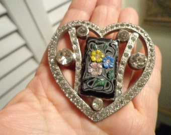 Fabulous Giant french Paste and glass Heart Brooch