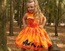 Lion King / Animal kingdom inspired silhouette dress size 2-8 toddler to girls