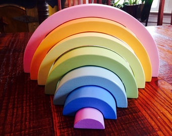 Large Pastel Rainbow Stacker, Wooden Toy / Waldorf  Montessori Puzzle Toys