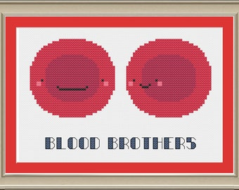 Blood brothers: funny red blood cell cross-stitch pattern