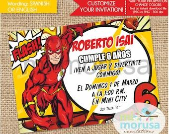 Flash, Comic Superheroe Invitation