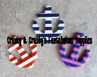 45mm x 38mm Striped Anchor Pendants -  Chunky Necklaces - Red and White or Blue and White