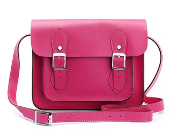 Small Wooster British Handmade Leather Satchel - Hot Pink